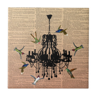 Vintage Book Page Hummingbird Chandelier Tile
