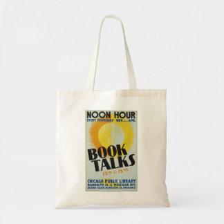 "Vintage ""Book Talks"" Tote Bag"