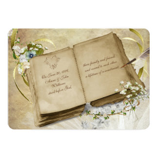 Vintage Book Vow Renewal Invite