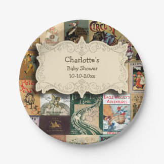 Vintage Books Baby Shower 7 Inch Paper Plate
