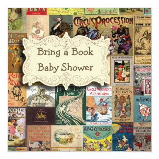 Vintage Books Bring A Book Baby Shower Card