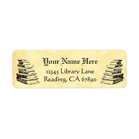 Vintage Books Custom Return Address Faux Parchment