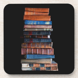 Vintage Books in a Pile Drink Coaster