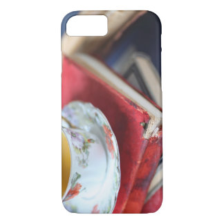 Vintage books with tea iPhone 7 case