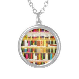 Vintage Bookshelf n Books Personalized Necklace