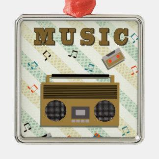 vintage boombox radio Silver-Colored square decoration