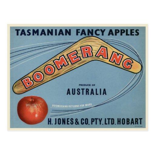 Vintage Boomerang apple postcard