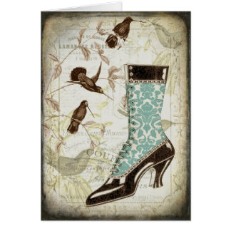 Vintage Bootie and Hummingbirds Greeting Card