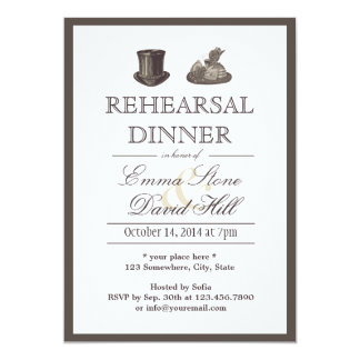Vintage Border Mr. and Mrs. Hats Rehearsal Dinner Card