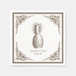 Vintage Border Pineapple Wedding Disposable Serviettes