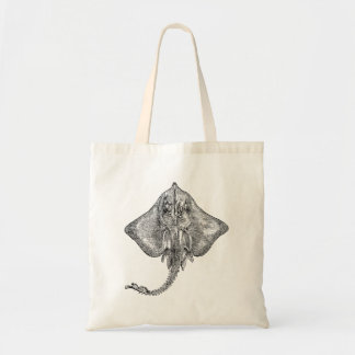 Vintage Bordered Ray Stingray - Aquatic Template Tote Bags