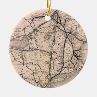 Vintage Boston and Montreal Railroad Map (1887) Christmas Ornament