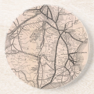 Vintage Boston and Montreal Railroad Map (1887) Coasters
