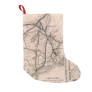 Vintage Boston and Montreal Railroad Map (1887) Small Christmas Stocking