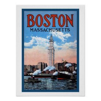 Vintage Boston Harbor Massachusetts Travel Poster