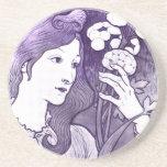 Vintage Botanical Artist Lady Coaster