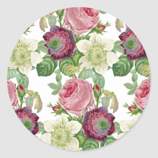 Vintage Botanical Blossom Country Chic Classic Round Sticker
