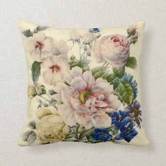 Vintage Botanical Bouquet of Mixed Flowers Cushions