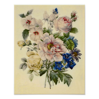 Vintage Botanical Bouquet of Mixed Flowers Poster