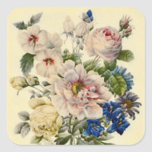 Vintage Botanical Bouquet of Mixed Flowers Stickers