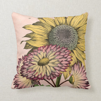 Vintage Botanical Bouquet on Pink Throw Pillow
