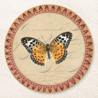 Vintage Botanical Butterfly With Burgundy Accents Round Paper Coaster