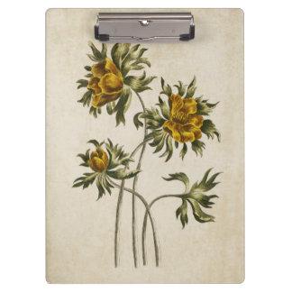 Vintage Botanical Floral Aconite Illustration Clipboard
