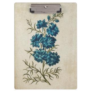 Vintage Botanical Floral Double Larkspur Clipboards