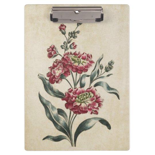 Vintage Botanical Floral Double Stock Illustration Clipboard