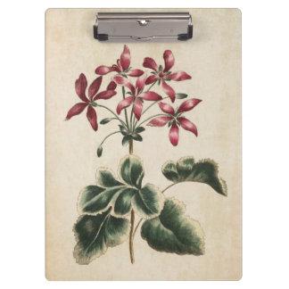 Vintage Botanical Floral Geranium Illustration Clipboard