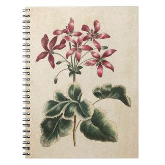 Vintage Botanical Floral Geranium Illustration Spiral Notebook