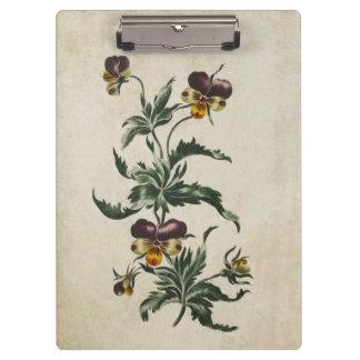 Vintage Botanical Floral Hearts Ease Illustration Clipboards