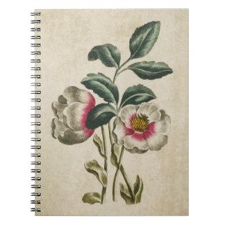 Vintage Botanical Floral Hellebore Illustration Spiral Notebooks