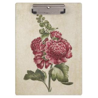 Vintage Botanical Floral Hollyhock Illustration Clipboards