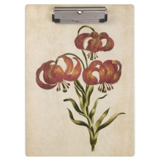 Vintage Botanical Floral Mountain Lily Clipboard