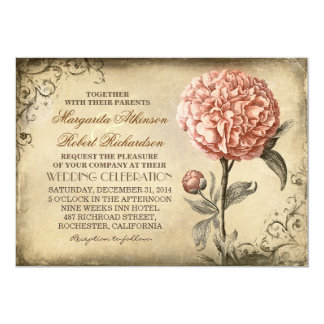 vintage botanical floral - pink peony wedding 13 cm x 18 cm invitation card