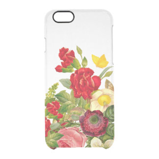 Vintage Botanical Floral Rose Clear iPhone 6 Plus Case