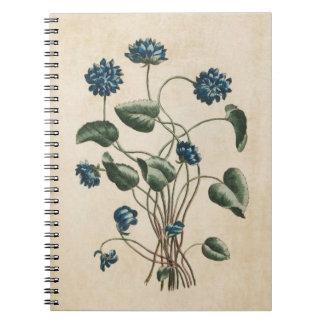 Vintage Botanical Floral Violets Illustration Notebook