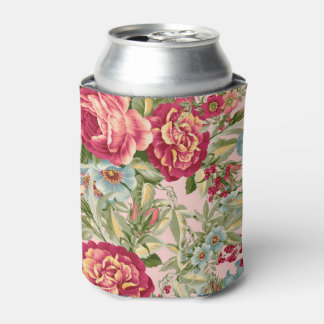 Vintage Botanical Floral Wallpaper Can Cooler