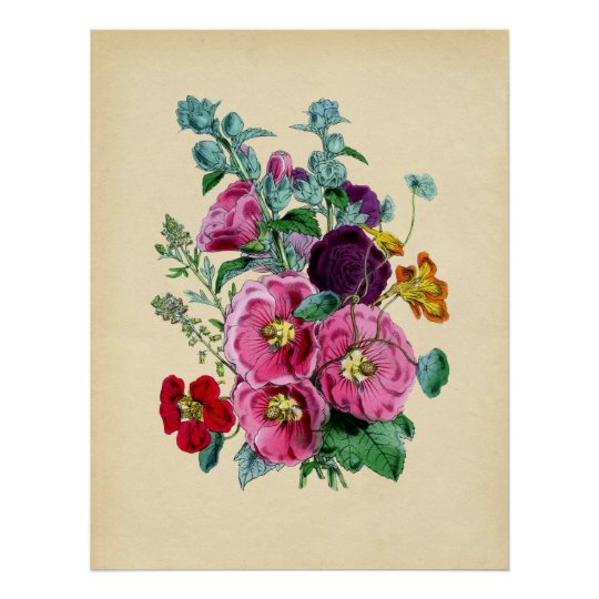 Vintage Botanical Hollyhocks Poster
