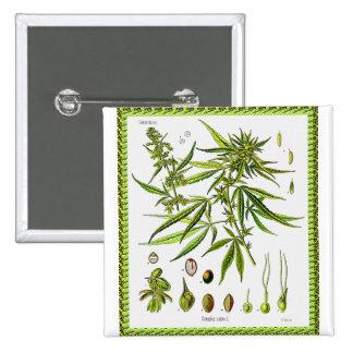 Vintage Botanical Illustration, 1897 - A weed 15 Cm Square Badge