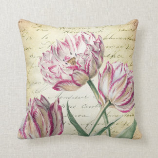Vintage Botanical Pink and White Tulips Cushion