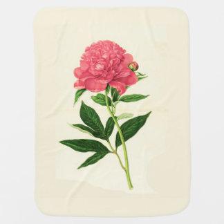 Vintage Botanical Print, Coral Pink Peony Baby Blanket