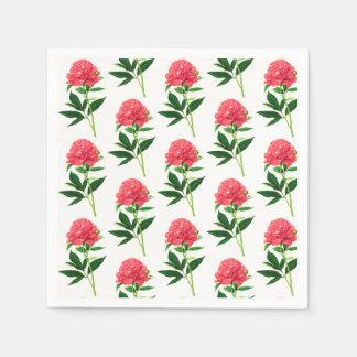 Vintage Botanical Print, Coral Pink Peony Disposable Napkin