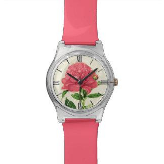Vintage Botanical Print, Coral Pink Peony Watch