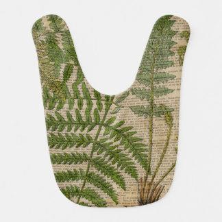 vintage botanical print leaves pattern fern bibs