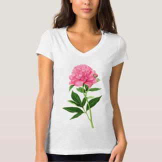 Vintage Botanical Print, Pastel Pink Peony T-Shirt