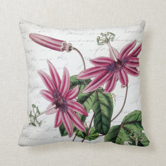 Vintage Botanical Purple Passion Flower Throw Pillow