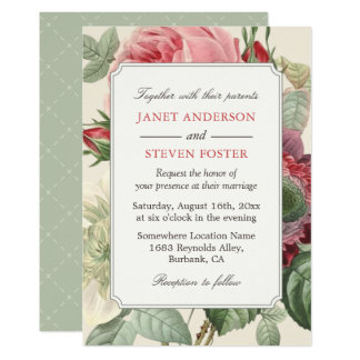 Vintage Botanical Rose Floral Elegant Wedding Card