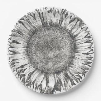 Vintage Botanical Sunflower Flower Paper Plates